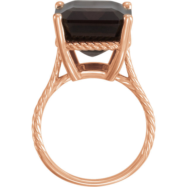 Smoky Quartz Rope Ring