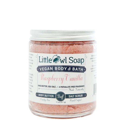 Raspberry Vanilla Salt Scrub -  Little Owl Soap