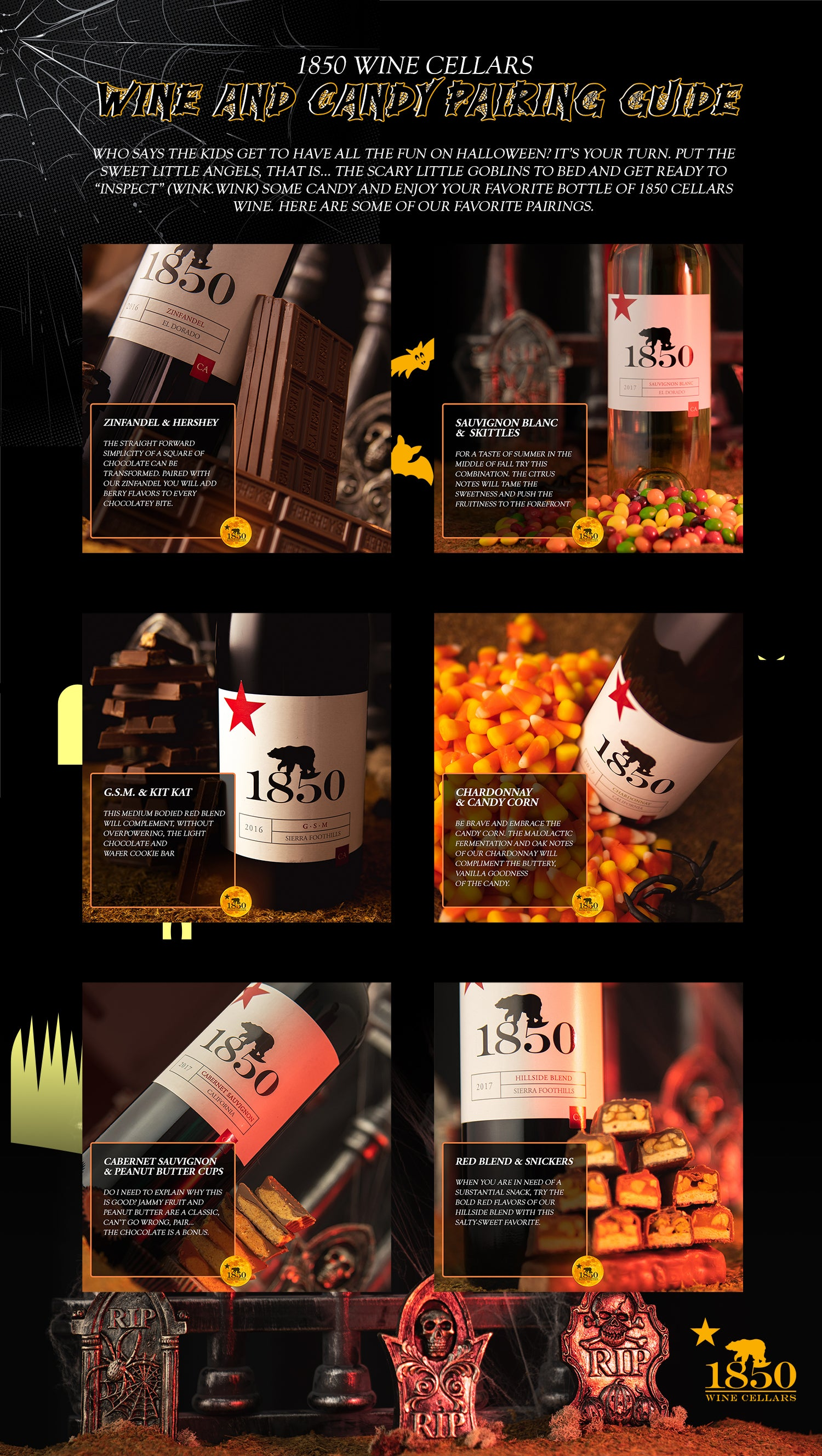 1850 Wine Cellars Halloween Wine And Candy Pairing Guide Infographic