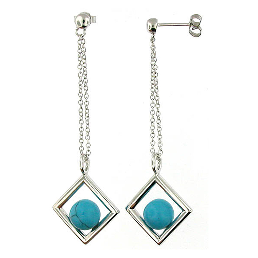 Faux Turquoise Drop & Dangle Earrings