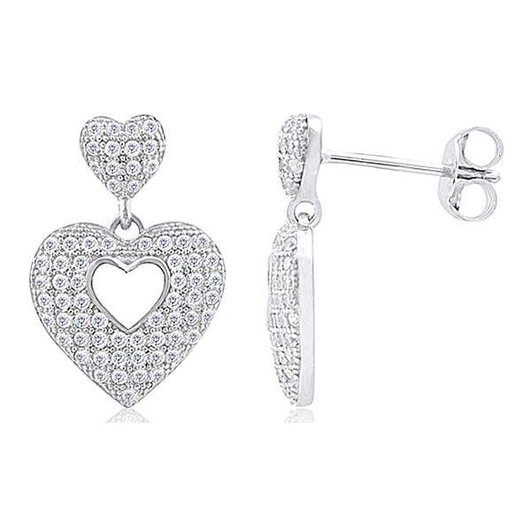 Double Heart Microset Earrings