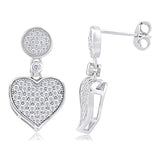 Heart and Circle Microset Dangle and Drop Earrings