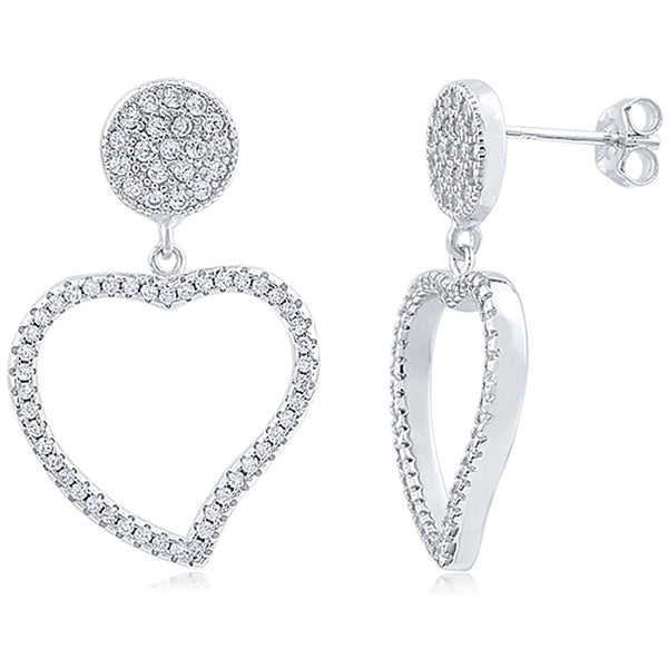 Heart Shaped Drop and Dangle Earrings