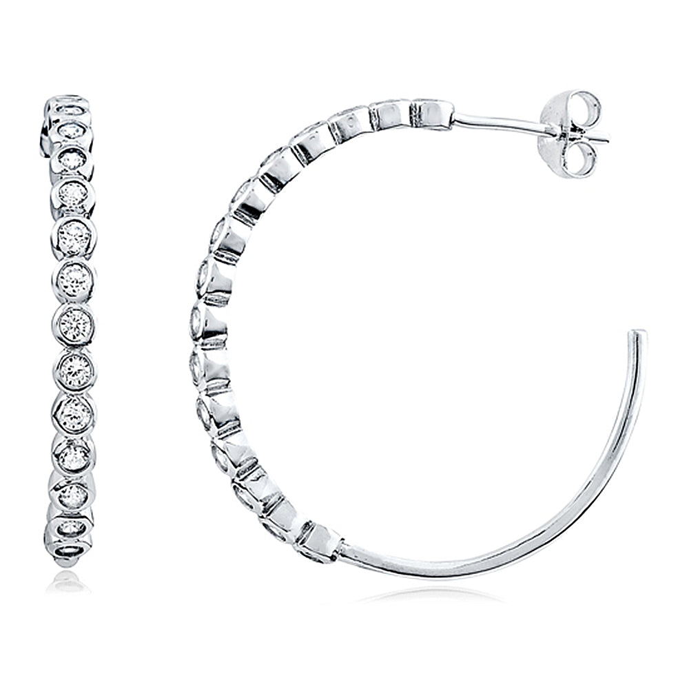 Bezel Set Hoop Earrings