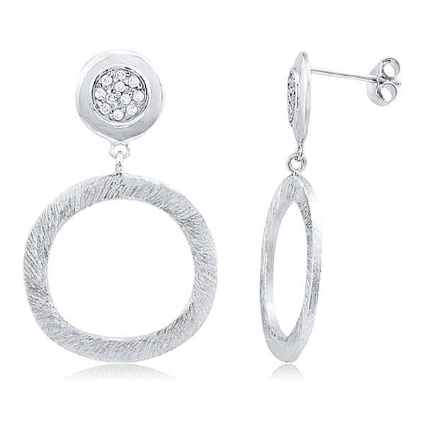 Drop and Dangle Circle Earrings with Microset Crystals and Brushed Matte Finish