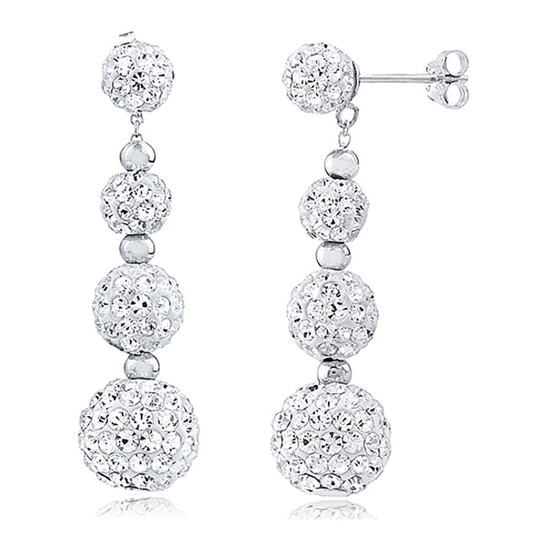 Dangle and Drop Sphere Earrings with White Crystals by Swarovski