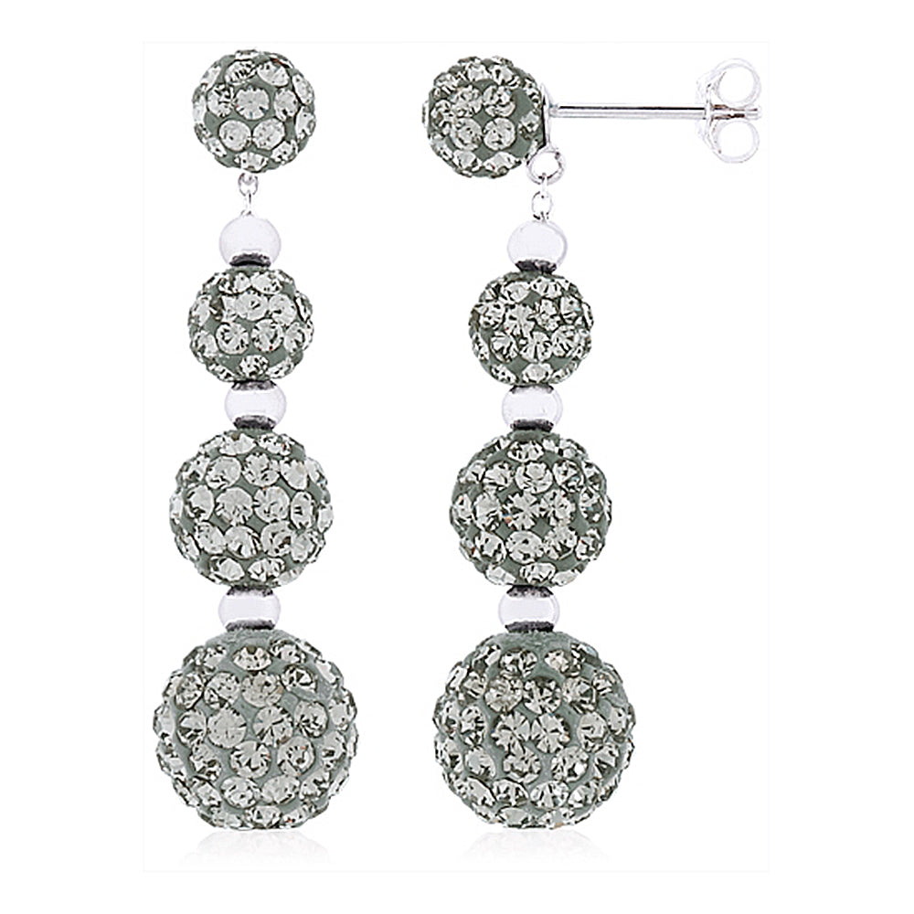 Dangle and Drop Sphere Earrings with Hematite Gray Crystals by Swarovski