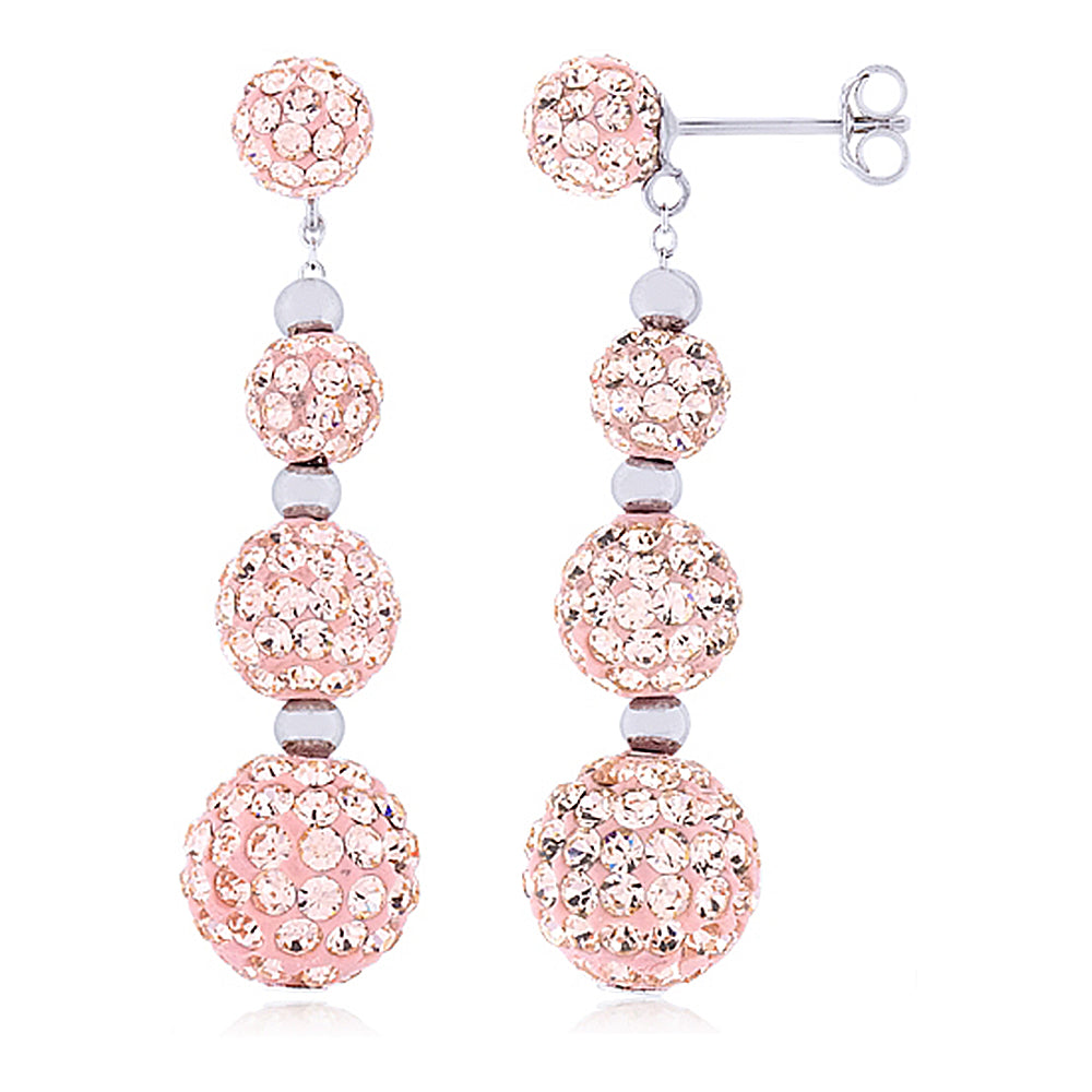 Dangle and Drop Sphere Earrings with Baby Pink Crystals by Swarovski