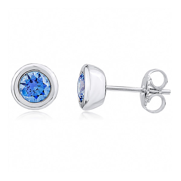 Silver and Post Bezel Set Stud Earrings with Blue Crystals from Swarovski® High Quality Design, Burlap Gift Box Included