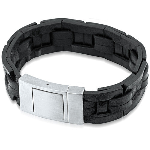 Men's Wide Leather Bracelet, Gift Box Included