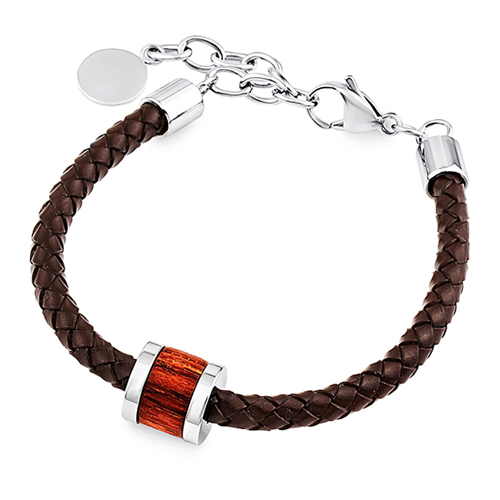 Men's Brown Leather Bracelet With Wooden Charm, Gift Box Included
