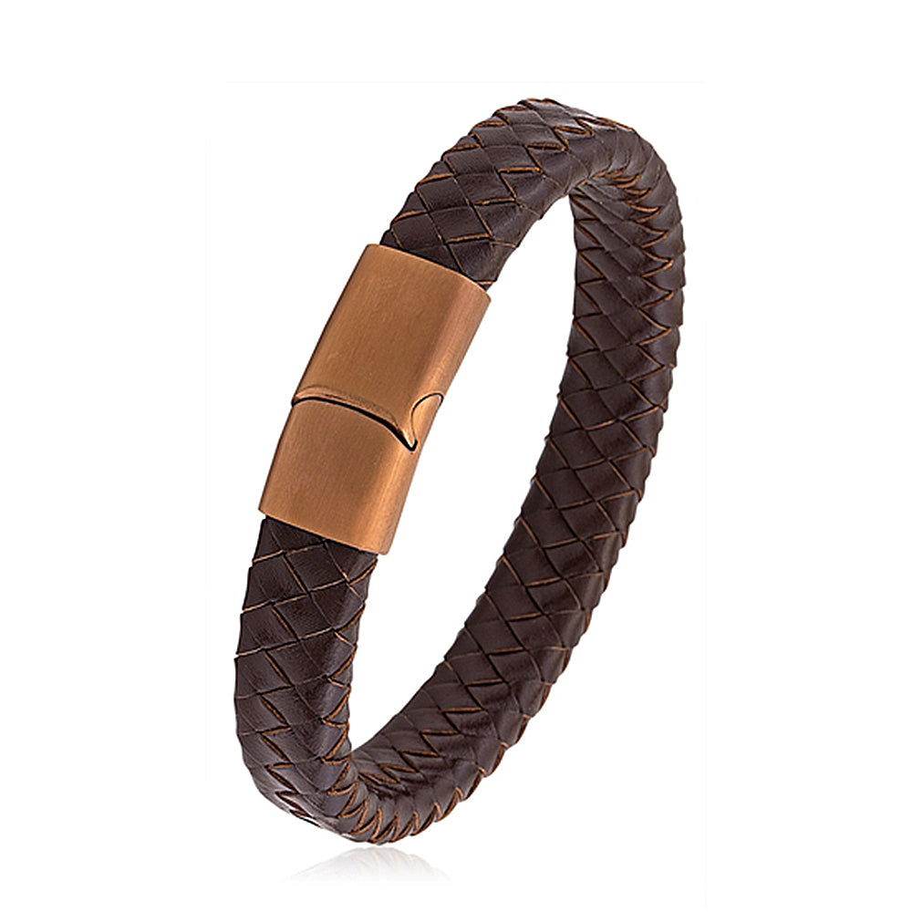 Men's Brown Braided Thick Leather Bracelet With Magnetic Brown Buckle, Gift Box Included