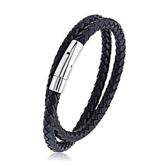 Mens Black Braided Wrap Leather Bracelet With Steel Clasp, Gift Box included