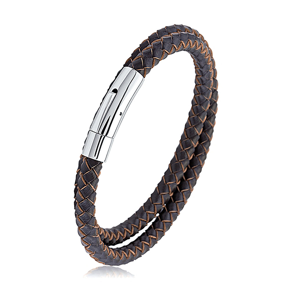 Men's Brown Braided Wrap Leather Bracelet With Stainless Steel Clasp, Gift Box Included