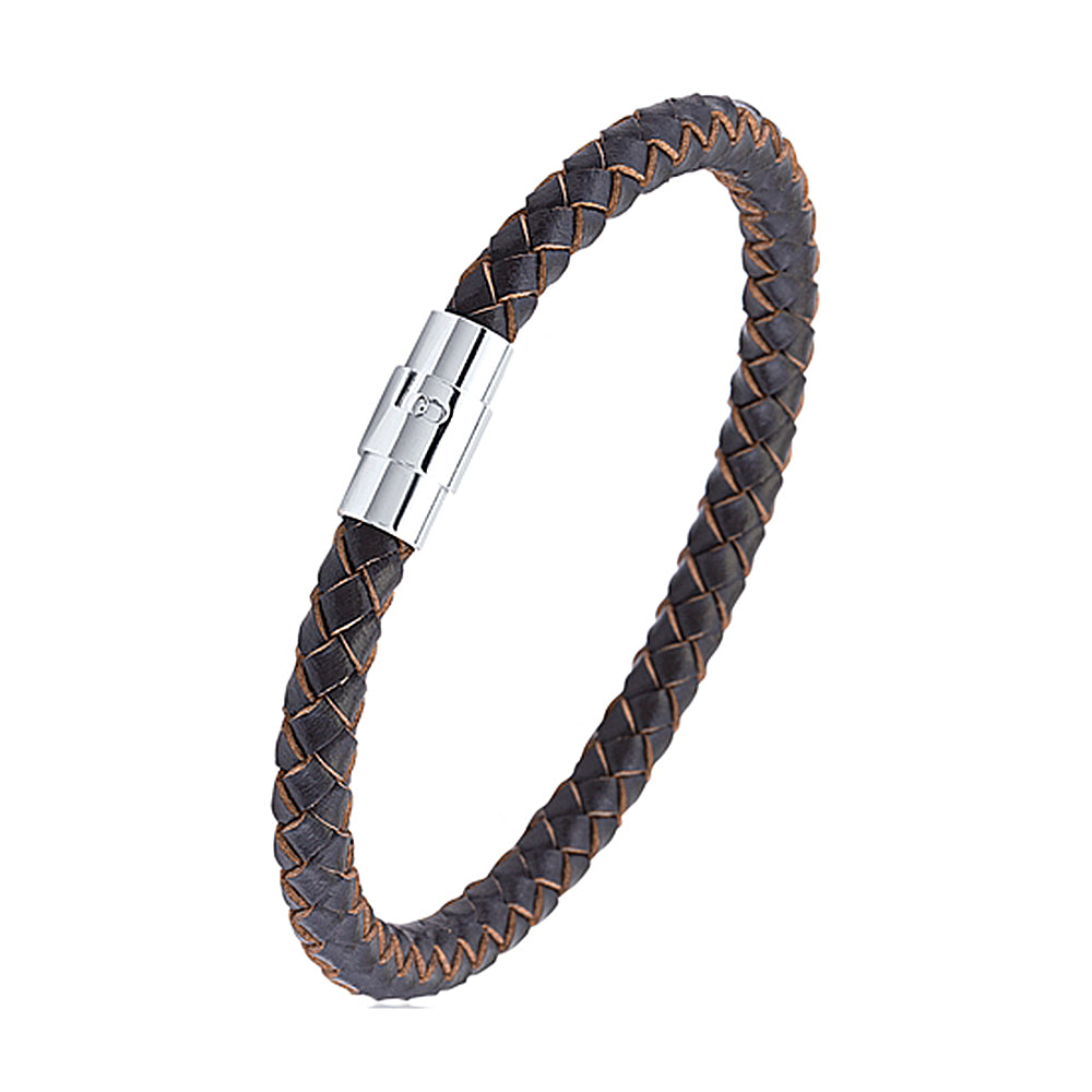 Men's Brown Braided Cuff Leather Bracelet With Steel Rotating Magnetic Clasp, Gift Box Included