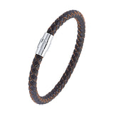 Men's Dark Brown Braided Leather Bracelet, Gift Box Included