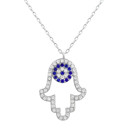 """Hamsa Evil Eye"" Silver Necklace"