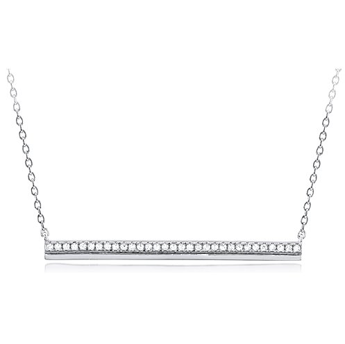 """The Bling Bar"" Silver Necklace"