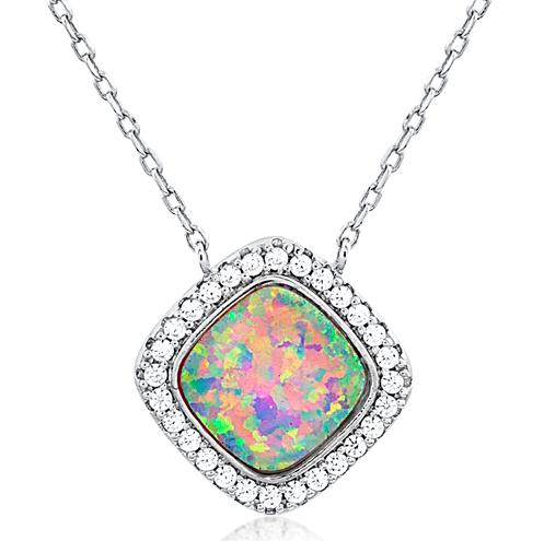 """Opal Ocean"" Silver Necklace"