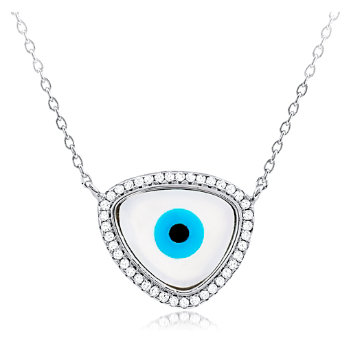 """Unique Evil Eye"" Silver Necklace"