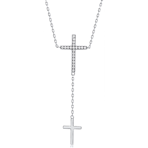 """Two Cross"" Silver Necklace"