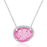 """Pink Blink"" Silver Necklace"