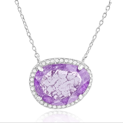 """Purple Blink"" Silver Necklace"
