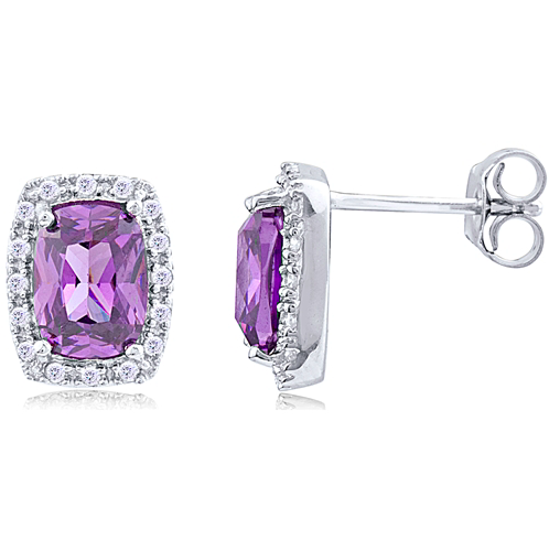 Purple Halo Stud Earrings