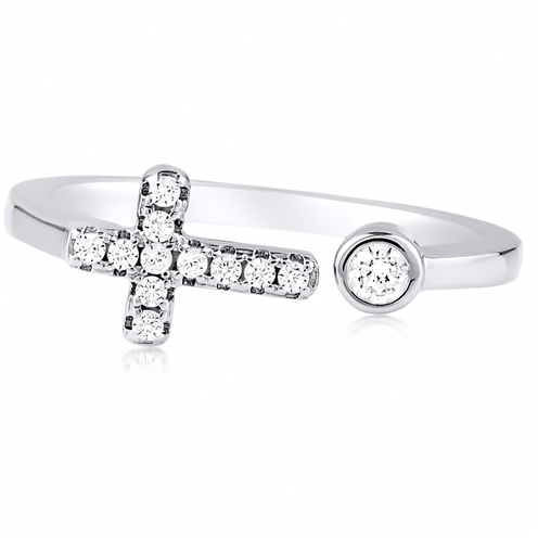 """Cross and Dot"" Silver Ring"