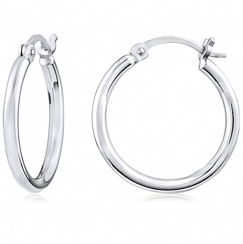 """Silver Hoop 0.75 Inch"" Silver Earrings"