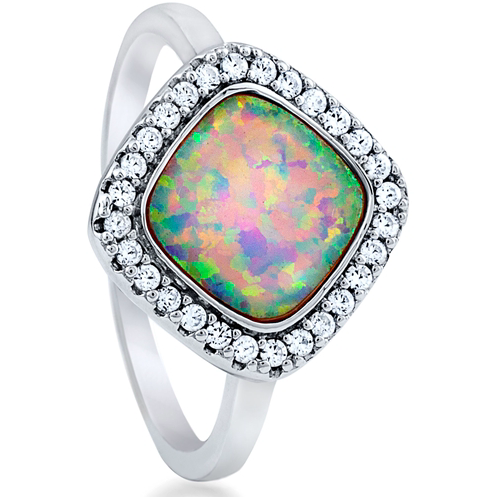 """Opal Halo"" Silver Ring"