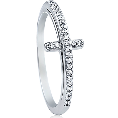 """Rounded Cross"" Silver Ring"