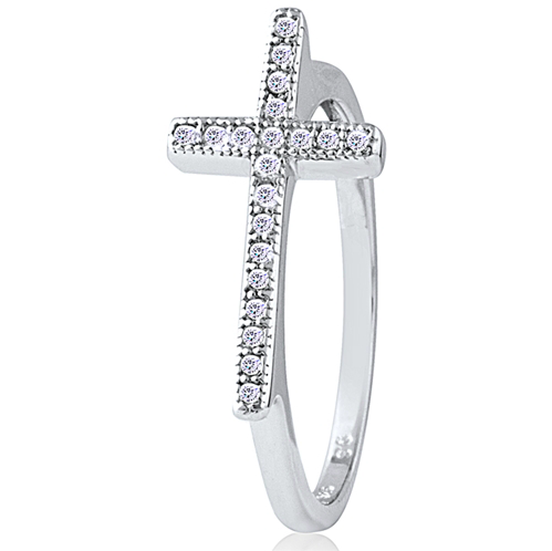 """Side Level Cross"" Silver Ring"