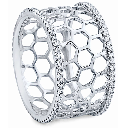 """Honey Comb"" Silver Ring"