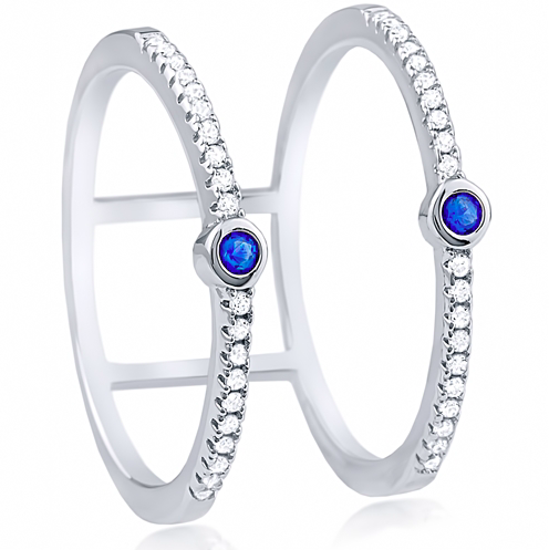 """Two Blue"" Silver Ring"