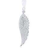 """Blinged Wing"" Silver Pendant"