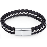 Men's Black Braided Genuine Leather Bracelet with Stainless Steel Inlay