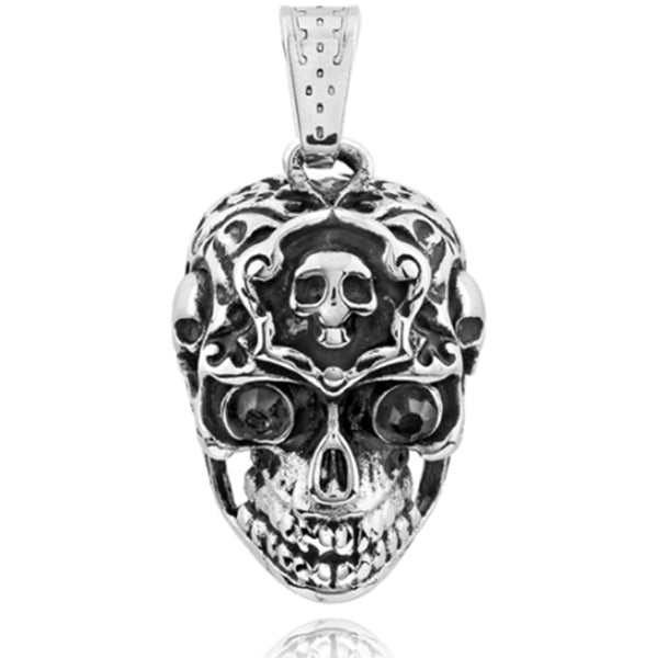 Stainless Steel Pendant With Black CZ Skull