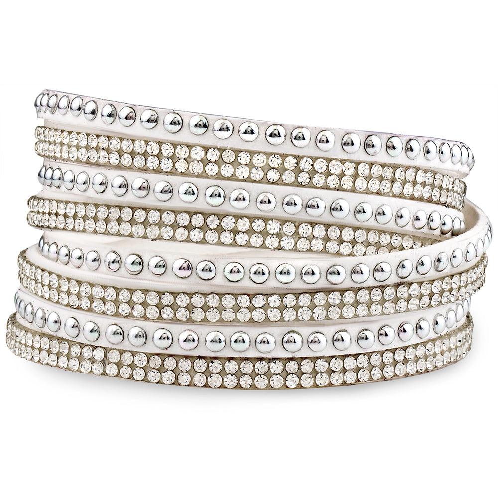 White Genuine Leather Wrap Bracelet with Crystals from Swarovski® High Quality Design, Burlap Gift Box Included