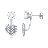 Stud Heart Jacket Earrings