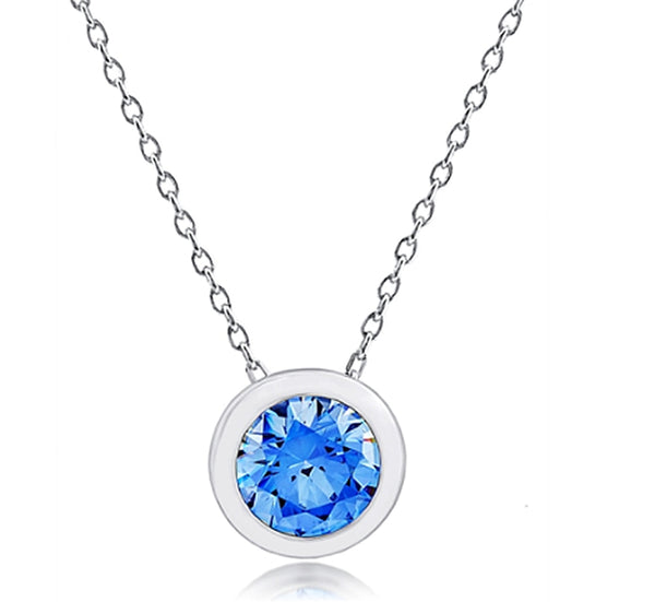 Silver and Post Bezel Set Pendant with Blue Crystal from Swarovski® High Quality Design, Silver Chain and Burlap Gift Box Included