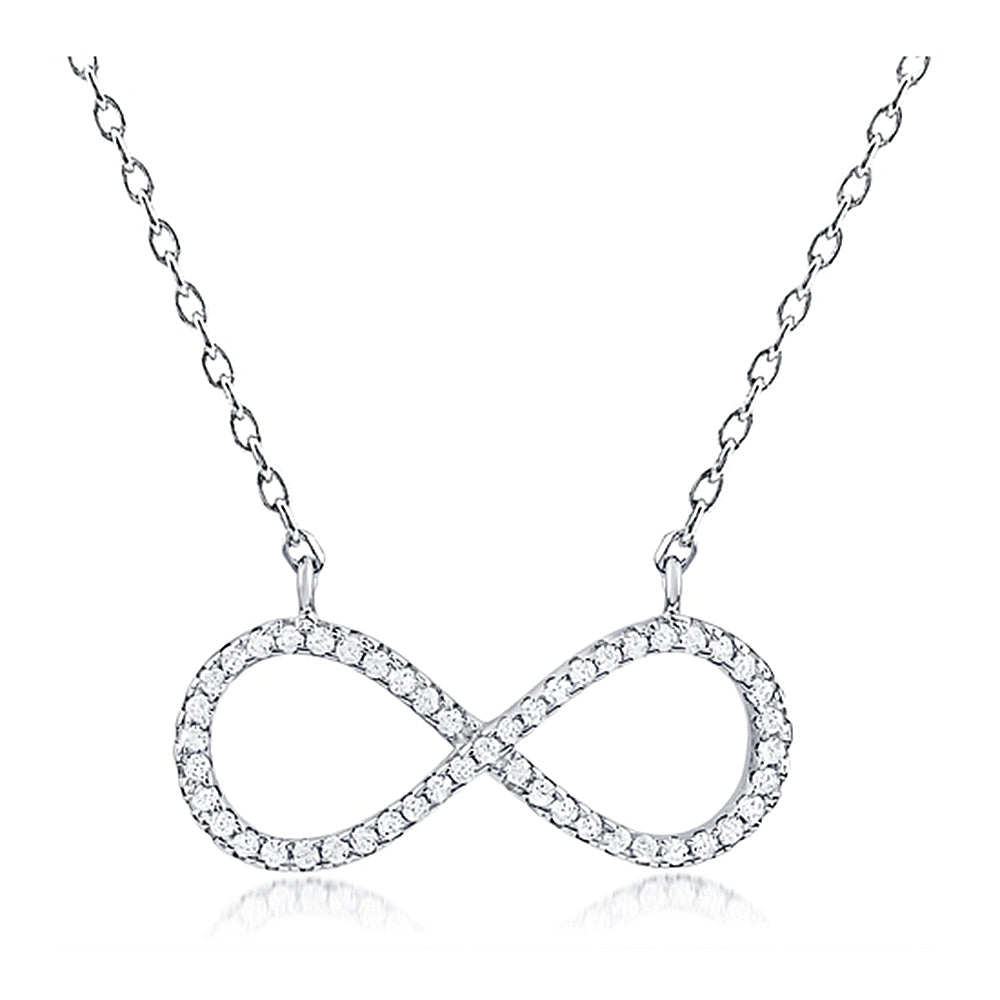 Lovely Infinity Pendant with Claw Set Crystals and Chain Included