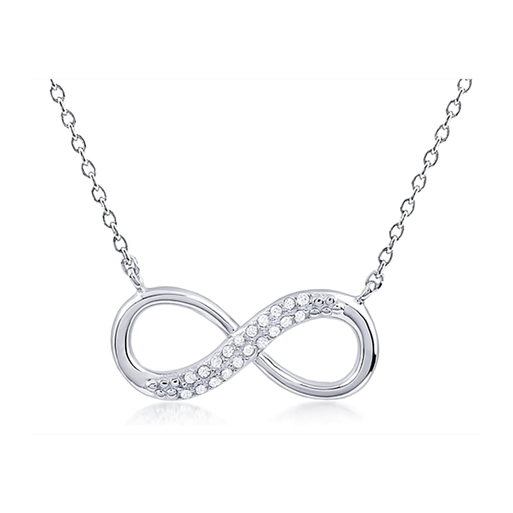 Infinity Pendant With Double Row Microset Crystals and Chain Included