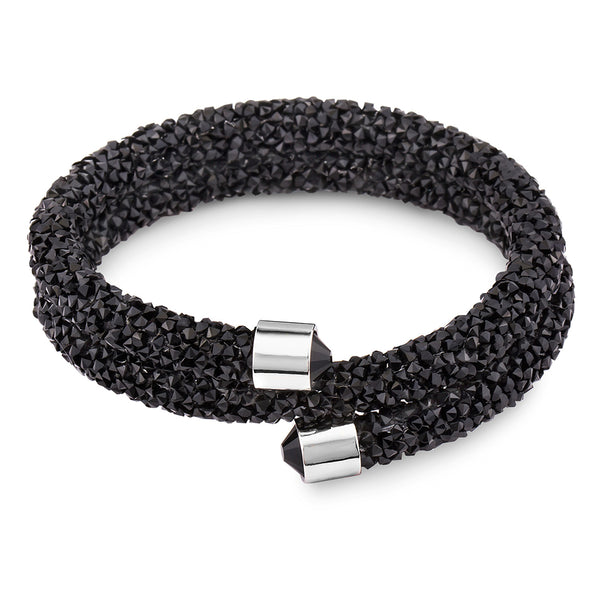 Black Bangle Wrap Bracelet Design with Crystals from Swarovski® Burlap Gift Box Included
