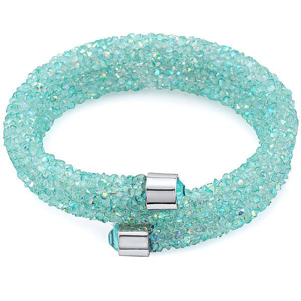 Turquoise Women's Bangle Wrap Bracelet Design with Crystals from Swarovski® Burlap Gift Box Included