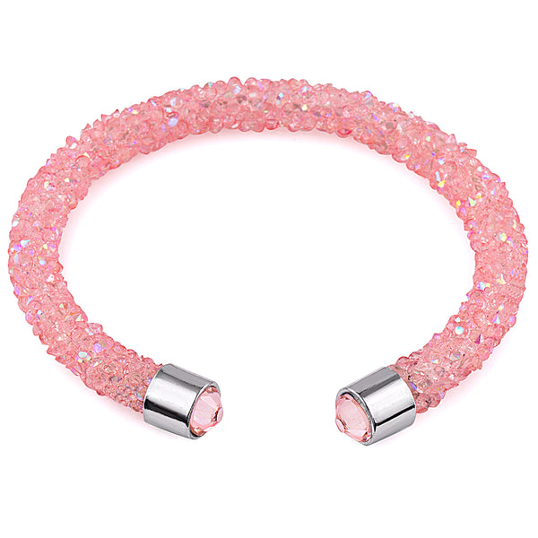 Pink Cuff Bracelet Design with Crystals from Swarovski® Burlap Gift Box Included