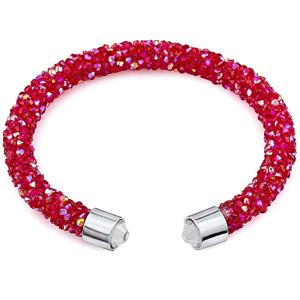 Red Cuff White Tips Bracelet Design with Crystals from Swarovski® Burlap Gift Box Included
