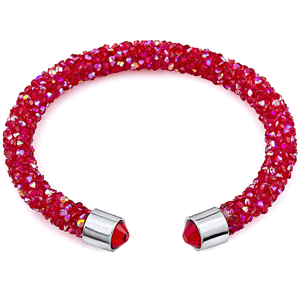 Red Cuff Bracelet Design with Crystals from Swarovski® Burlap Gift Box Included