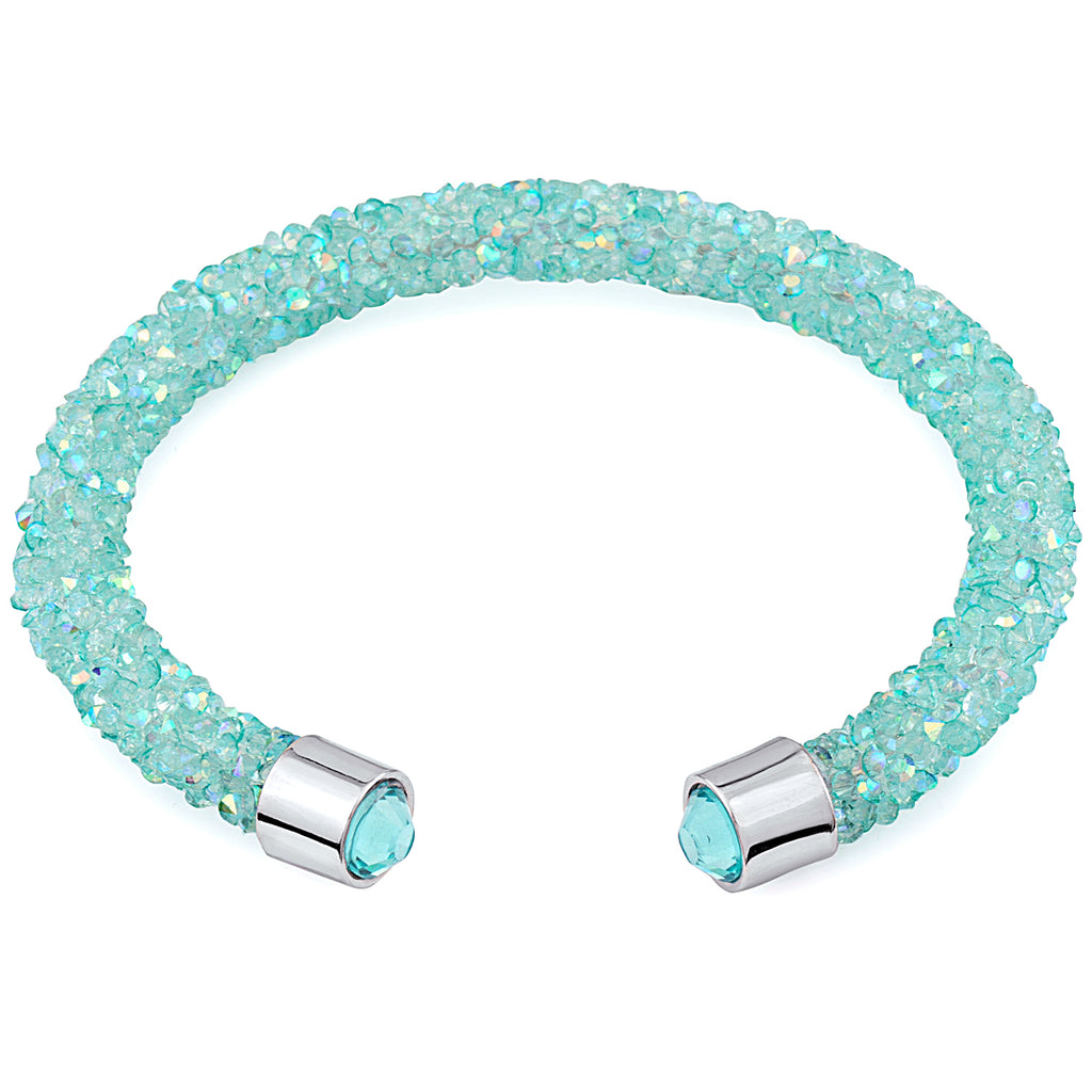 Turquoise Cuff Bracelet Design with Crystals from Swarovski® Burlap Gift Box Included