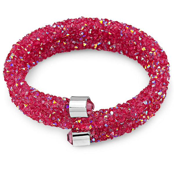 Ruby Red Women's Bangle Wrap Bracelet Design with Crystals from Swarovski® Burlap Gift Box Included